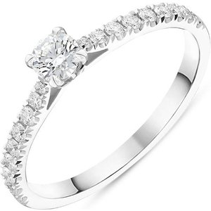 C W Sellors Diamond Jewellery Platinum Brilliant Cut 0.46ct Diamond Shoulder Solitaire Ring