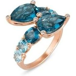Ponte Vecchio Iris 18ct Rose Gold 2.50ct Blue Topaz Diamond Crossover Ring
