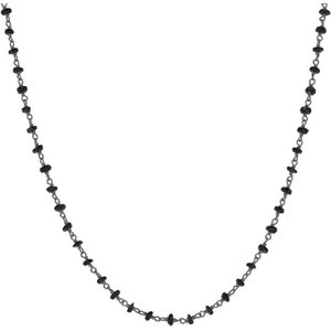 C W Sellors Rhodium Plate Whitby Jet 4mm Bead Chain Link Necklace