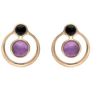 C W Sellors Rose Gold Whitby Jet Amethyst Open Circle Stud Earrings