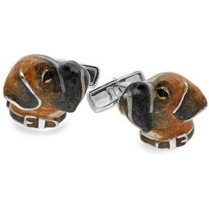Saturno Sterling Silver Enamel Boxer Cufflinks
