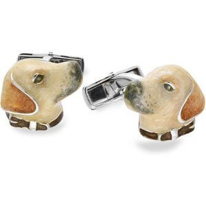 Saturno Sterling Silver Enamel Labrador Cufflinks