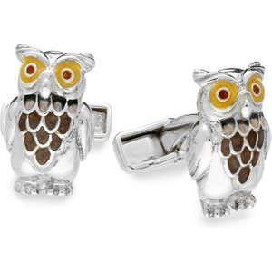 Saturno Sterling Silver Enamel Owl Cufflinks