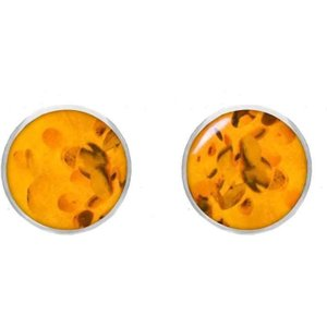 C W Sellors Sterling Silver Amber 8mm Classic Large Round Stud Earrings