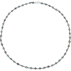C W Sellors Sterling Silver Black Pearl Bead Chain Link Necklace