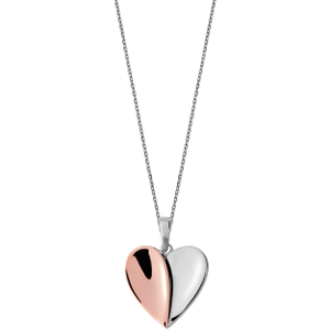 C W Sellors Sterling Silver Rose Gold Vermeil Split Heart Necklace , Silver