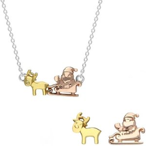 C W Sellors Sterling Silver Rose Yellow Gold Santa Reindeer Two Piece Set