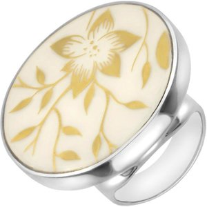 C W Sellors Sterling Silver Royal Crown Derby Arboretum Round Ring