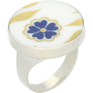 C W Sellors Sterling Silver Royal Crown Derby Sudbury White Round Ring , Silver