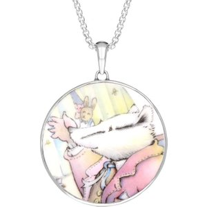 C W Sellors Sterling Silver Royal Doulton China Wind In The Willows Round Necklace , Silver