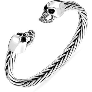 C W Sellors Sterling Silver Skull Twist Bangle