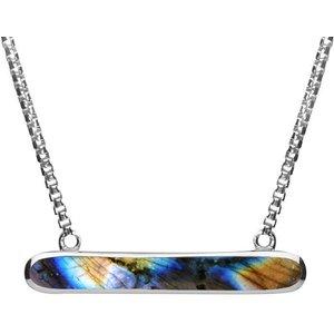 C W Sellors Sterling Silver Spectrolite Lineaire Oval Necklace