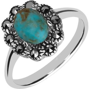 C W Sellors Sterling Silver Turquoise Marcasite Domed Oval Beaded Edge Ring , Silver