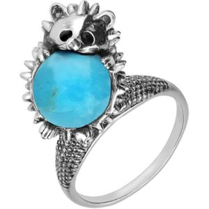 C W Sellors Sterling Silver Turquoise Medium Hedgehog Ring