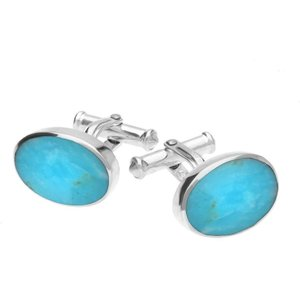 C W Sellors Sterling Silver Turquoise Oval Cushion Cufflinks