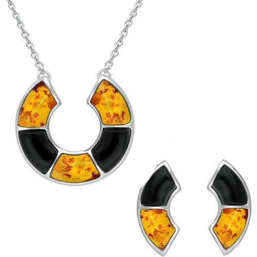C W Sellors Sterling Silver Whitby Jet Amber Curved Stone Two Piece Set