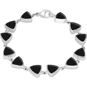 C W Sellors Sterling Silver Whitby Jet Curved Triangle Bracelet , Silver