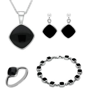 C W Sellors Sterling Silver Whitby Jet Cushion Shaped Four Piece Set