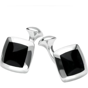 C W Sellors Sterling Silver Whitby Jet Domed Square Cufflinks