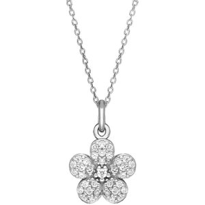 C W Sellors Sylva Sterling Silver Cubic Zirconia Small Flower Necklace