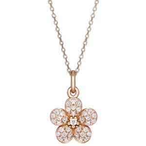 C W Sellors Sylva Sterling Silver Rose Gold Vermeil Small Flower Necklace