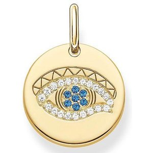 Thomas Sabo Love Bridge Yellow Gold Spinel Eye Of Horus Disc Pendant D Silver , Silver