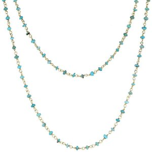 C W Sellors Yellow Gold Plate Turquoise 3mm Bead Chain Link Necklace
