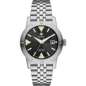 Zodiac Watch Super Sea Wolf Skin Black , Black