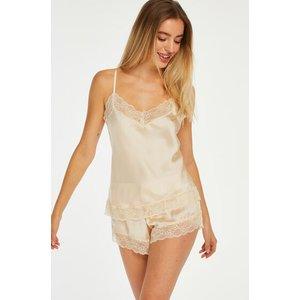 Hunkemöller Satin Pyjama Shorts Beige 167142 Xs , Beige