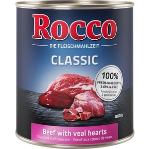 30 X 800g Rocco Classic Wet Dog Food - 24 + 6 Free!* - Beef With Veal Hearts Pets