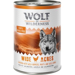 24 X 400g Wolf Of Wilderness Adult Wet Dog Food - 20 + 4 Free!* - Mixed Pack The Taste Of  Pets