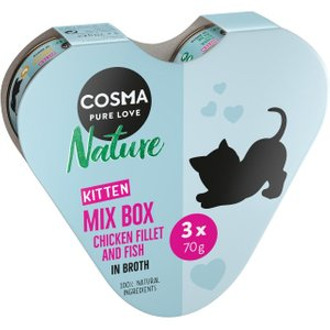 6 X 70g Cosma Nature Kitten Heart Box - Special Price!* - 3 Varieties Pets