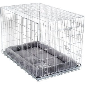 Double Door Crate With Cushion - Size M: 78 X 55 X 61 Cm (l X W X H) Pets