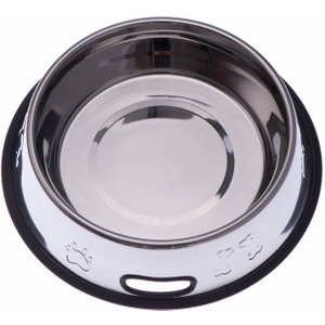 Embossed Stainless Steel Bowl With Rubber Ring - 0.9 Litre Pets