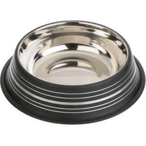 Silver Line Stainless Steel Dog Bowl – Black - 0.45 Litre Pets