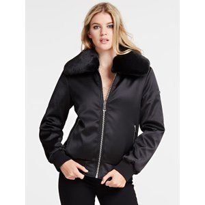 Guess Bomber With Faux Fur Collar, Black