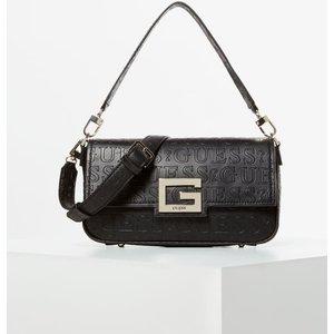 Guess Brightside Debossed Logo Shoulder Bag, Black