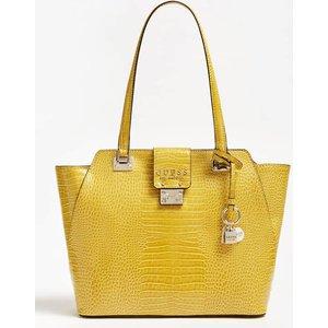 Guess Cleo Croc Print Shoulder Bag, Yellow