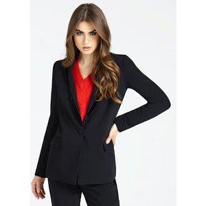 Guess Jacket With Velvet Lapel Trim, Black