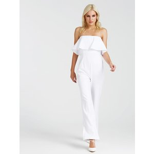 Guess Jumpsuit With Flounce Detail, White