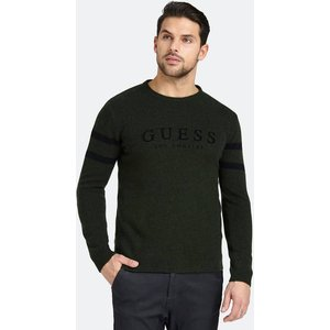 Guess Logo Sweater With Striped Sleeves, Green