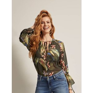 Guess Marciano Floral Print Blouse, Green