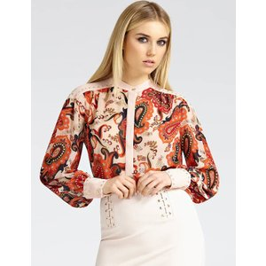 Guess Marciano Studded Paisley-print Blouse, Red
