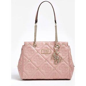 Guess Shanina Quilted Logo Stud Shoulder Bag, Pink