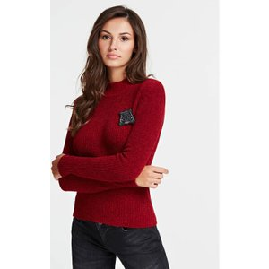 Guess Sweater With Logo Patch, Red