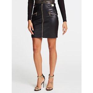 Guess Zipped Faux Leather Miniskirt, Black