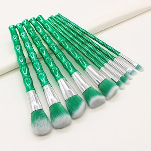 Shein 10pcs Bamboo Design Handle Makeup Brush Green Sbbeauty18200828189 Clothing Accessories, Green