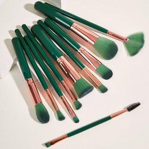 Shein 10pcs Makeup Brush Set Green Sbbeauty18200916676 Clothing Accessories, Green
