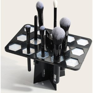 Shein 14 Hole Makeup Brush Drying Rack Black Sbbeauty18201013849 Clothing Accessories, Black