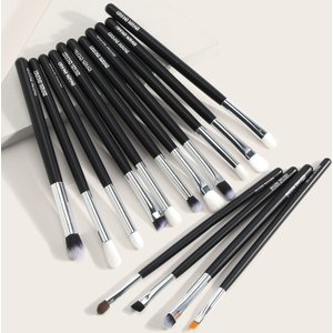 Shein 15pcs Eye Soft Makeup Brush Black Sbbeauty18200623081 Clothing Accessories, Black